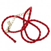 Artificial leather choker with clasp, red 45cm
