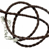 Artificial leather choker with clasp, brown 45cm