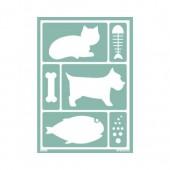 Pochoir chat / chien / poisson A5