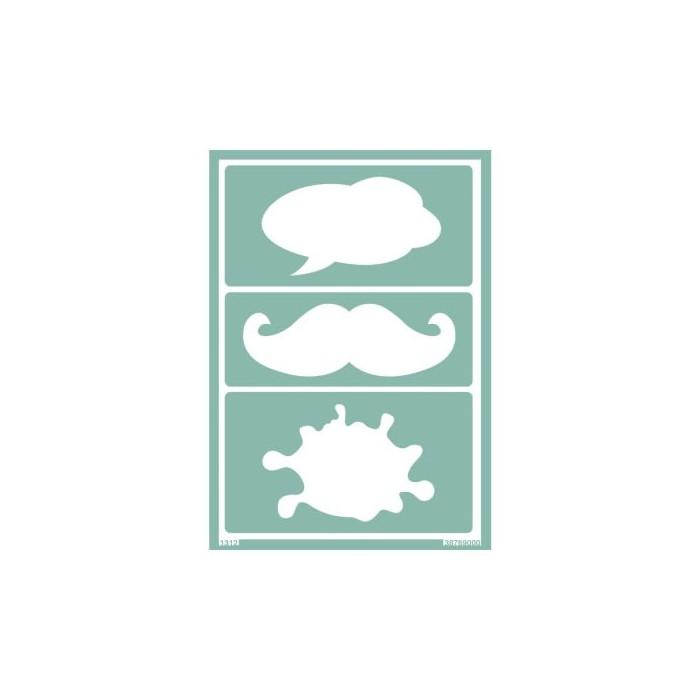Plantilla nube / bigote A5 - creaclic.ch