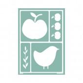 Pochoir pomme / oiseau A5