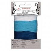 Raphia en papier, 30m, bleu/bleu clair