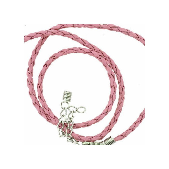 Artificial leather choker with clasp, pink 45cm