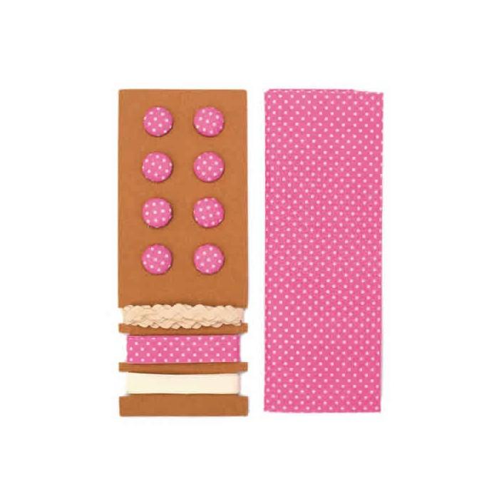 Textile set Lili Rose, polka dots pink
