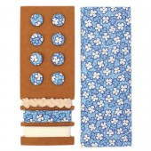 Textile set Lili Rose, blue with flowers