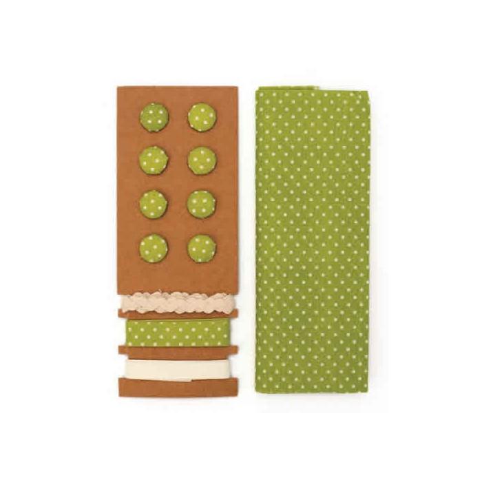 Textile set Lili Rose, polka dots green