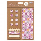 Textile set Lili Rose, lilac with flowers