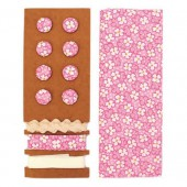 Textile set Lili Rose, pink with flowers
