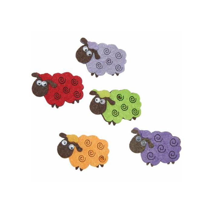 Felt sheep, 50mm, 6 pcs