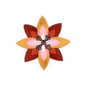 Motif à fixer au fer à repasser, Fleur, orange