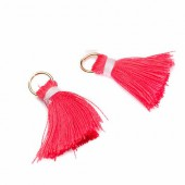 Pompon / gland 20mm, rouge, 2 pcs