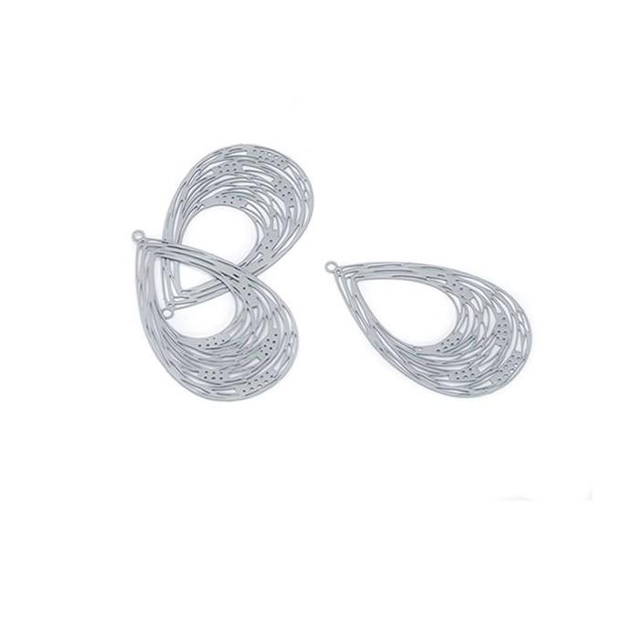 Laser cut pendant Earrings, drop, grey, 2 pcs