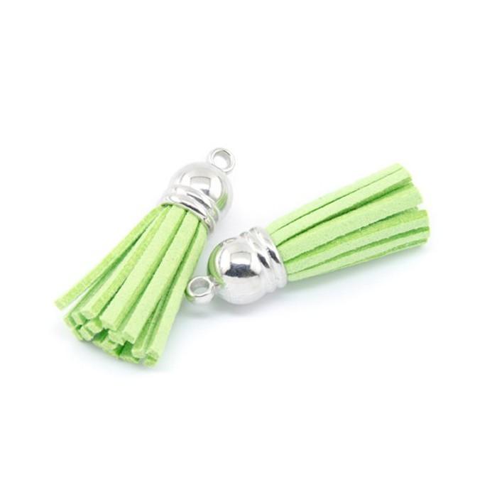 Tassel suede 36mm, green, 2 pcs