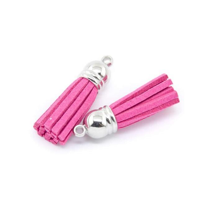 Tassel suede 36mm, pink, 2 pcs
