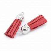 Pompon / gland en suédine 36mm, rouge, 2 pcs