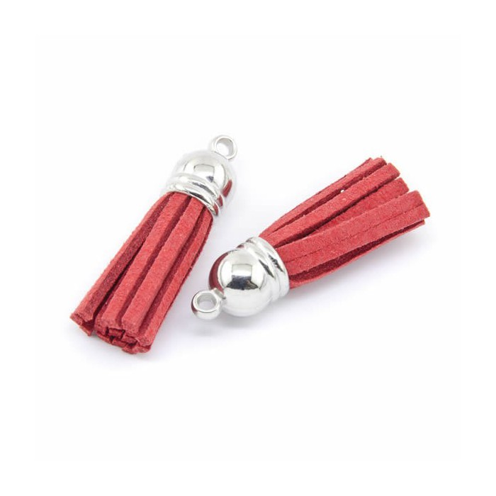 Tassel suede 36mm, red, 2 pcs