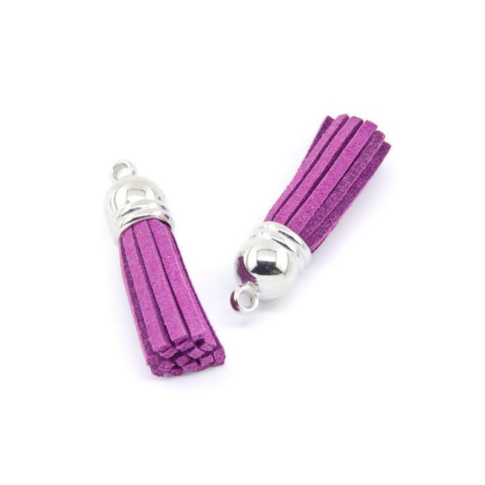Tassel suede 36mm, purple, 2 pcs