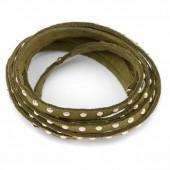 Suédine rivets dorés, kaki, 5mm/1m