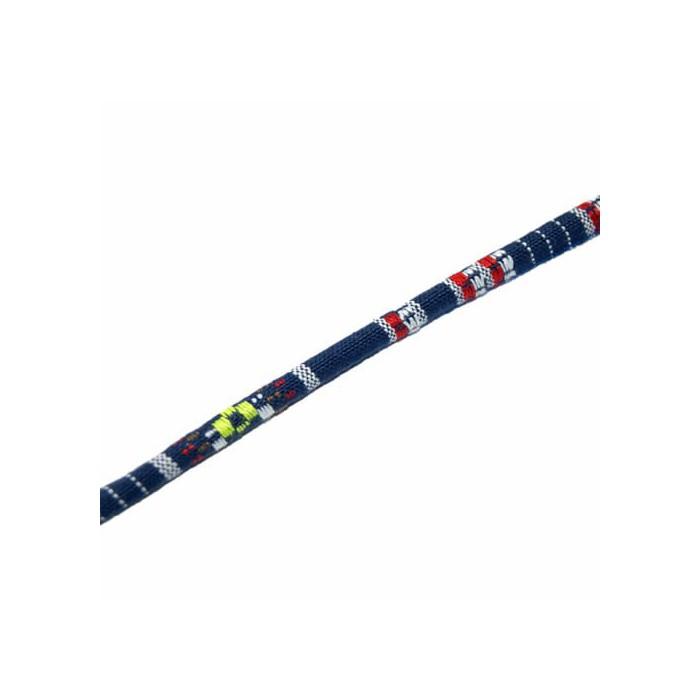 Ethnic cord, cotton, Ø6mm/1m, blue/white