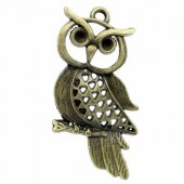 Hanging Big Owl bronze 52x27mm, 1 pce
