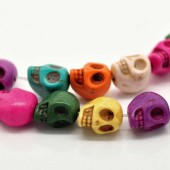 Perles tête de mort howlite, 13x12mm, 10 pcs