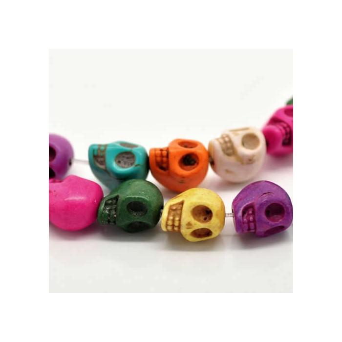 Howlite skull beads 13x12mm, 10 pcs