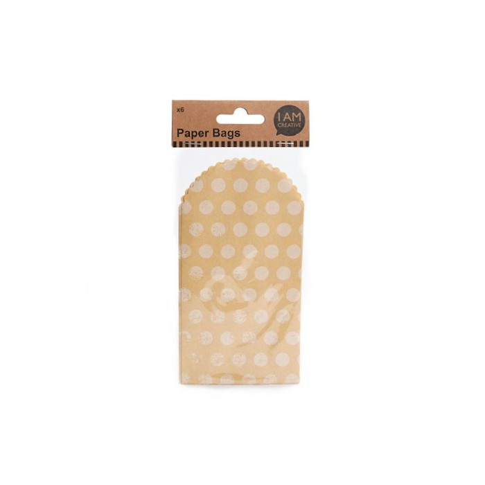 Paper sachets food grade, kraft with dots, 6 pcs