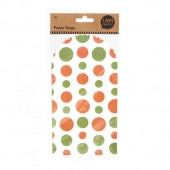 Paper sachets food grade, green/orange, 6 pcs