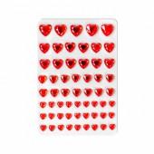 Strass autocollants coeurs rouge, 58 pcs