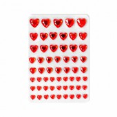 Strass stickers hearts, red, 58 pcs