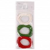 Ficelle de papier vert/blanc/rouge, 3x120cm