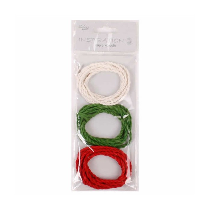 Paper cord, green/red/white, 3x120cm