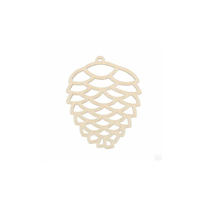 Wooden pine cone 8cm, 3 pcs