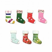 Buttons Mix, Christmas Socks, 8 pcs
