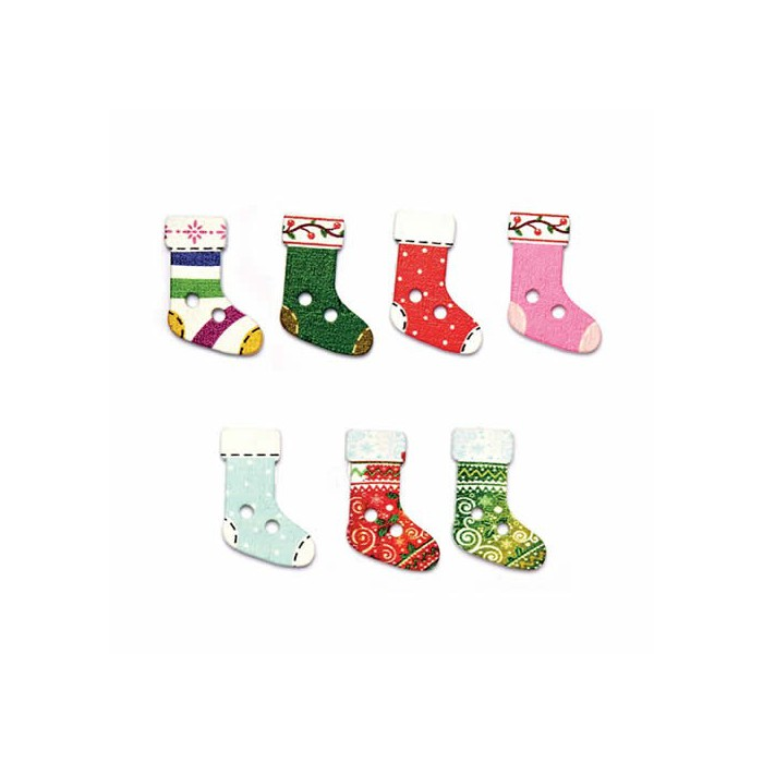 Buttons Mix, Christmas Socks, 8 pcs