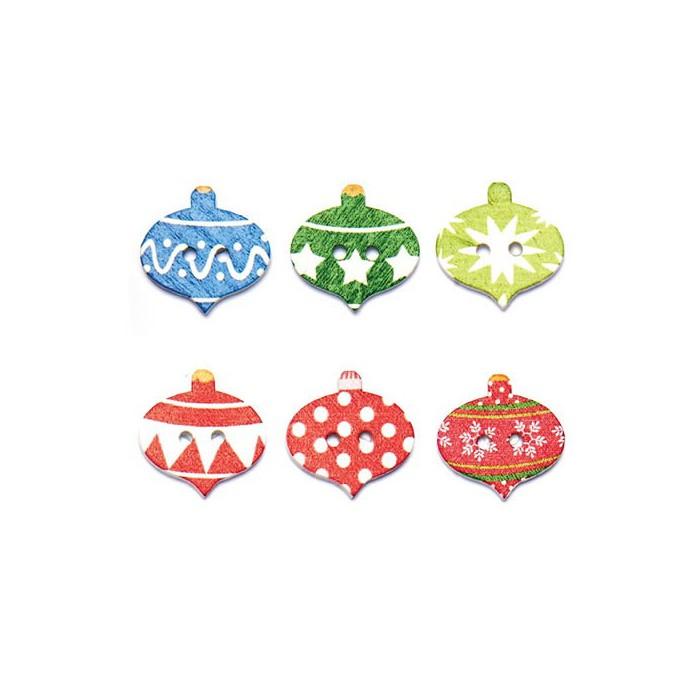 Buttons Mix, Christmas Ornaments, 8 pcs
