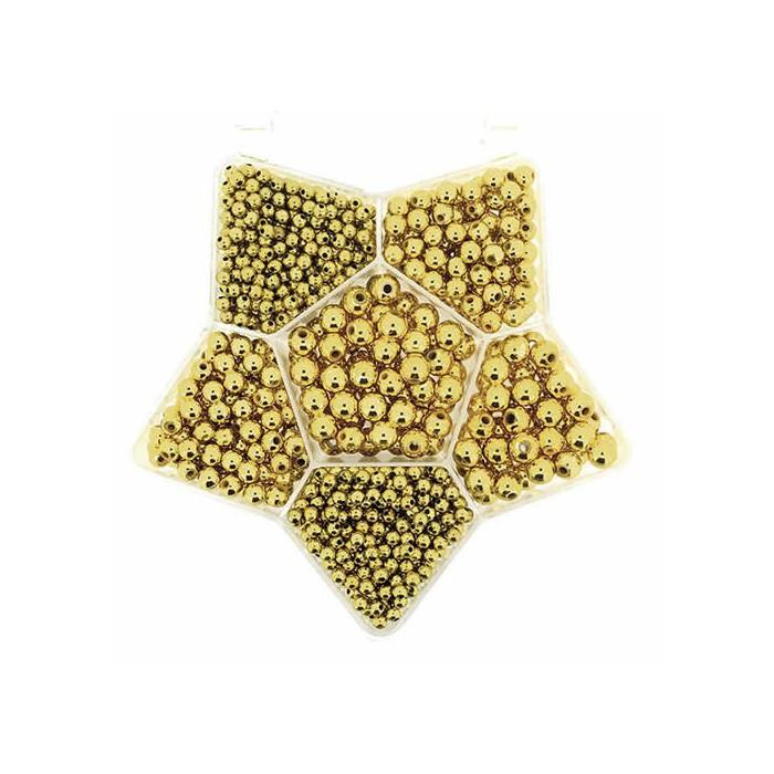 Metal pearls gold, mix
