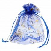 Pochette cadeau organza 10x14cm, bleu