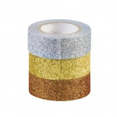 Glitter Tape, set of 3, silver, gold, copper