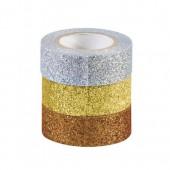 Glitter Tape, set of 3, silver, gold, copper