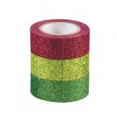 Set de 3 rubans adhésifs pailletés, rouge/vert