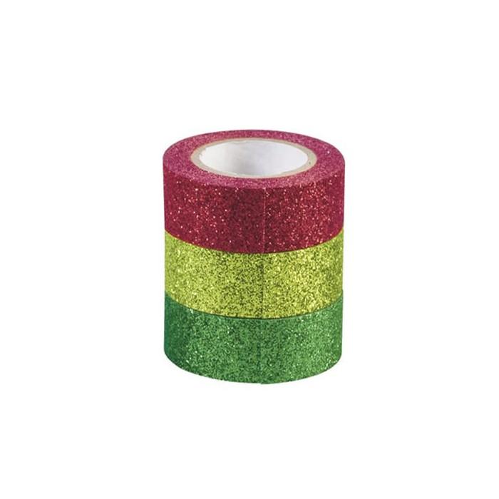 Glitter Tape, set of 3, red/green