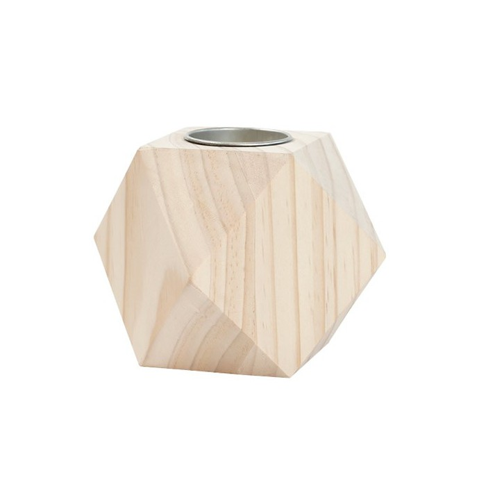 Wooden candle holder, Geometric, 9cm