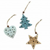 Wooden star / tree / heart, 6.5cm