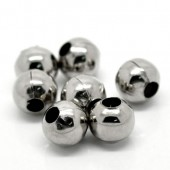 Round beads large hole, 10mm, 10 pces