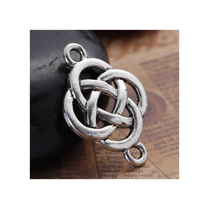 Connector Celtic Knot, silver color, 4 pcs
