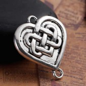 Connector Heart Celtic Knot, silver color, 4 pcs