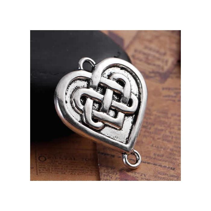 Connector Heart Celtic Knot, silver color, 4 pcs