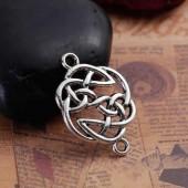 Connecteur noeud celtique, couleur argent, 4 pcs