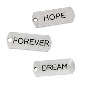 Hanging tags, Hope/Forever/Dream, 6 pcs